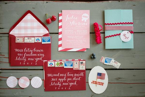 americana red wedding invitation